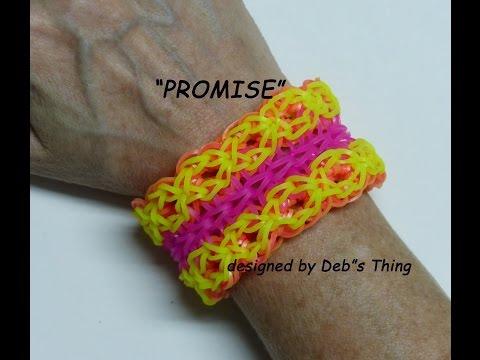 """Rainbow Loom Bracelet – Original Design – """"PROMISE"""" (ref. #7c)"""