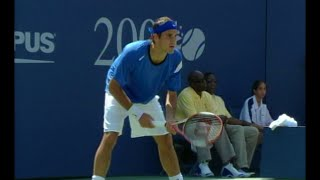 A great rally ends with a punishing forehand winner by Roger Federer in his 3rd round match against Fabrice Santoro at the...