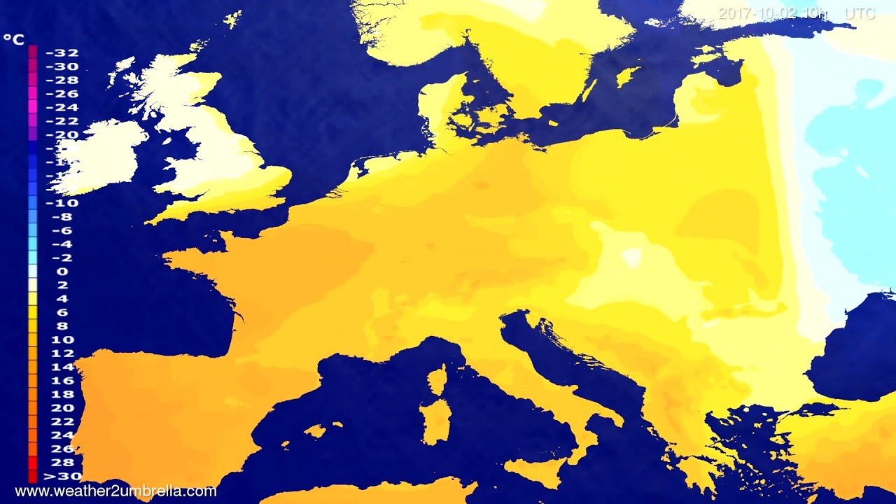 Temperature forecast Europe 2017-09-30