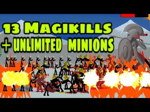 13 Magikills with Unlimited Minions Challenge Ice Hills Level/ Insane Mode/ Stick War Legacy