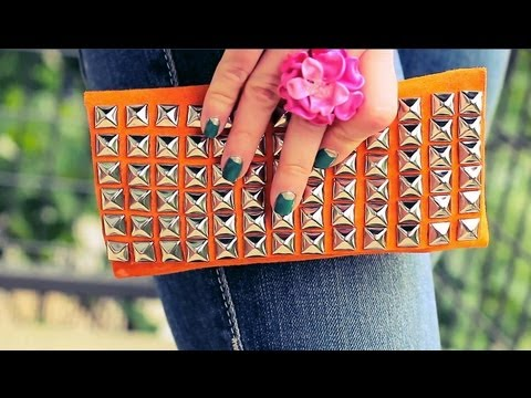 DIY Suede Studded Clutch