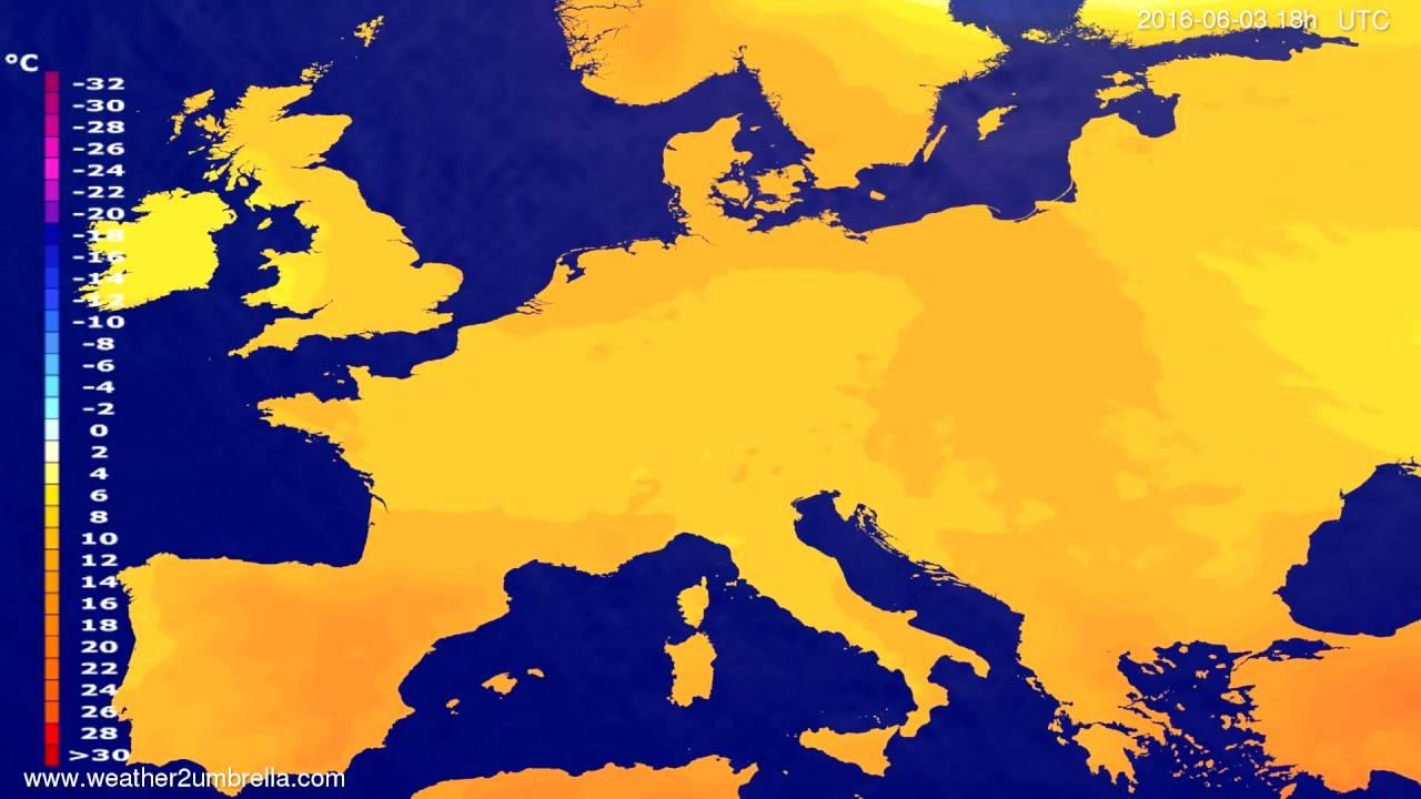 Temperature forecast Europe 2016-05-31
