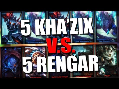 5 KHA'ZIX VS 5 RENGARS - One For All Gameplay - League Of Legends