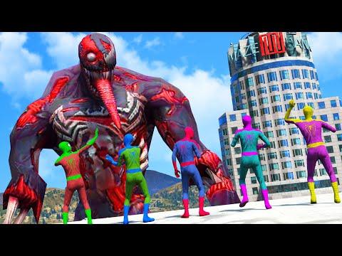 Spider Man & Green Spiderman & Blue Spidey & Team Spiderman VS Giant Zombie Venom - Monster Universe