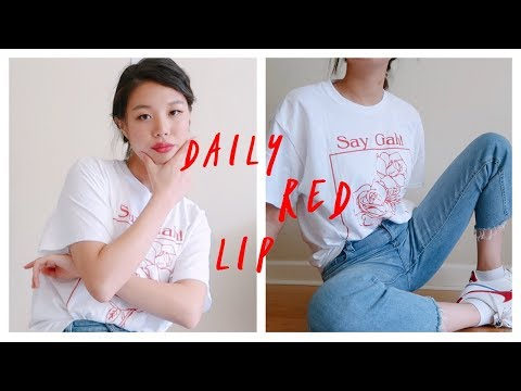 Casual Red Lip Makeup to Outfit GRWM