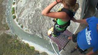 134 m Nevis Bungy Jump, New Zealand. This Swedish girl is SCARED!