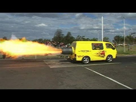 Jet-powered van fires things up