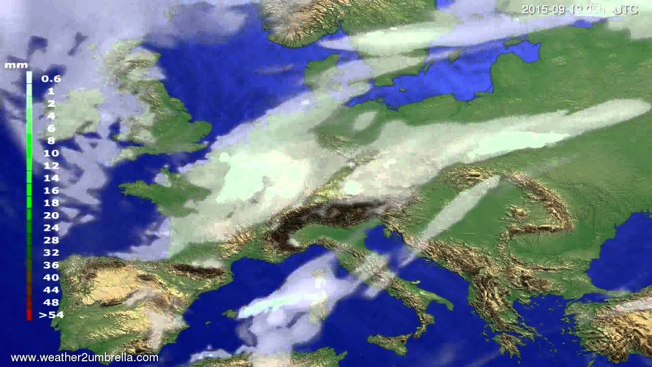 Precipitation forecast Europe 2015-09-15