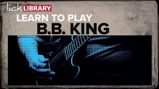 """See more at: http://bit.ly/2pwHS4ROne of the biggest names in music, B.B. King's influence on modern rock and blues can be still heard today in such players as Joe Bonamassaand Gary Clark Jr. His sophisticated blues soloing style based around effortless string bending and a shimmering vibrato set him apart from his peersand helped earn him the nickname """"The King of the Blues"""".In this course, LickLibrary veteran, Lee Hodgson will help you learn to play the following B.B. King highlights:LESSONS INCLUDE:• Everyday I Have The Blues• Rock Me Baby• Sweet Sixteen• Three O'Clock Blues• The Thrill Is Gone - See more at: http://bit.ly/2pwHS4R"""