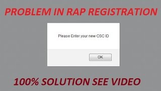 RAP REGISTRION PROBLEM FOR NEW VLE ENTER YOUR NEW CSC ID SOLUTION VIDEO