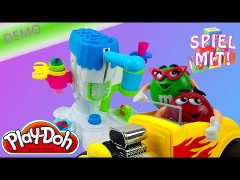 Play Doh Eismaschine deutsch [demo mit M&Ms Hot Rod] Eis Softeis Softeismaschine Eisknete Kneteis