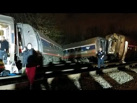 Amtrak Train Collides with Freight Train - LIVE BREAKING NEWS COVERAGE 2/4/18