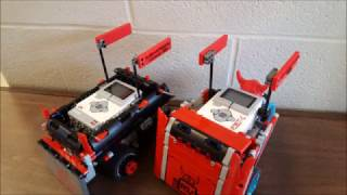 "This video is for the 2017 Northeast Ohio Robotics Education Program Competition, ""Penguin Bot Race"". The middle school team consists of five seventh graders and ten eighth graders. This year's competition consists of five facets: a Technical Journal, a presentation to a panel of judges, Game 1 (two laps around an oval course) and Game 2 (a line follower), and the vehicle design. Our robot uses two large motors and 4 color sensors. More information about our team and our robot can be found on our website at ""robotics.labrae.school"".Song: LFZ - Echoes [NCS Release] Music provided by NoCopyrightSounds.Video Link: https://youtu.be/Q_ojhcx-wrk"