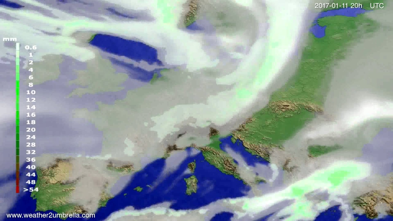 Precipitation forecast Europe 2017-01-09