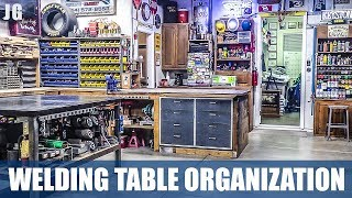 I've been asked for a while now how I choose to organize my welding table and if I would go a little tour of the table. Well here it is. I love this welding table, I built it to be the same height as the rest of the tables in my shop here so that I could easily work on long pieces of material. If you want to know any more about my welding table feel free to send me a message or post your question in the comments below. I've also put a list of tools that I have below with links to them on amazon. Don't forget to Subscribe! https://goo.gl/kWECHLLAST BUILD VIDEO: https://youtu.be/0edaZBbj-CQCheck out Jimbo's Metal Working videos here: http://bit.ly/20Dpj8t FOLLOW JIMBO!Facebook: https://www.facebook.com/TheOfficialJimbosGarage/Twitter: https://twitter.com/JimbosGarageInstagram: https://www.instagram.com/jimbosgarage/Where to buy Jimbos Tools:FEIN Tools Multitool: http://amzn.to/2fQ0zxwYost Vice: http://amzn.to/2cbbUq4DeWalt Mag Drill: http://amzn.to/2bPPNVzRikon Band Saw: http://amzn.to/2c21EvxEverlast Welder: http://amzn.to/2c8Dcf2Dewalt Table Saw: http://amzn.to/2cCLrm7Rikon Lathe: http://amzn.to/2bPPA4IBosch Miter Saw: http://amzn.to/2c3DMb3Ryobi Grinder: http://amzn.to/2c7afzoRyobi Drill Press: http://amzn.to/2c3DFfHRyobi Belt Sander: http://amzn.to/2cbaI62Husky Tool Box: http://amzn.to/2c3EntkEVERLAST Power Tig 210EXT: http://amzn.to/2pPBSl1EVERLAST Plasma Cutter 60S: http://amzn.to/2pyBZlOJimbo's Garage is a channel to find the how to's of welding, wood & other fun projects. Also see reviews on popular tool brands like FEIN, HILTI, DEWALT, MIKITA, RYOBI and more!