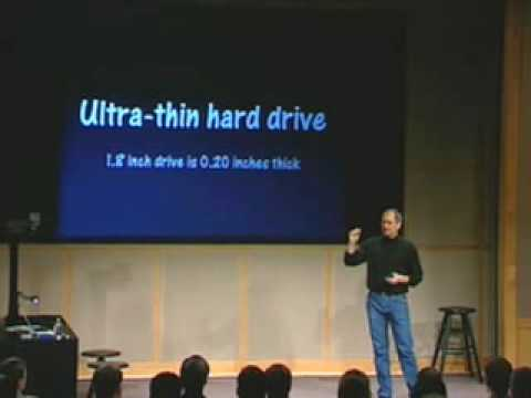 Ipod - Here we see Steve Jobs introducing the very first iPod at a low key event in 2001. The rest is history.
