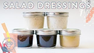 Hey #BuzyBeez! You asked for this video so here it is! Make 5 Easy and Delicious Salad Dressings with things already in your fridge and pantry! 5 Mason Jar SALADS: https://youtu.be/Jci6LxNULfASUBSCRIBE: https://www.youtube.com/user/honeysucklecatering?sub_confirmation=1My Shirt: http://shopstyle.it/l/cH7LKitchenAid Mixer: http://shopstyle.it/l/bZfsLe Creuset Dutch Oven: http://shopstyle.it/l/bPXmSmeg Toaster: http://shopstyle.it/l/bPXrRaccoon Salt Jar: http://bit.ly/2tzMFoUDIY Salad Dressing (Each serves 4-5):Asian Sesame Dressing2 tbsp. Rice wine vinegar2 tbsp soy sauce1 tbsp honey1 tbsp sesame oil ½ cup neutral oil / avocado oil2 tsp. sesame seeds2 cloves garlic, minced¼ tsp ginger, minced Balsamic Vinaigrette1/3 cup balsamic vinegar1/4 tbsp olive oil1 1/2 tbsp honey2 tbsp dijon mustard1 tsps kosher salt1 clove garlic, minced1/2 tsp italian seasoning (oregano, thyme, rosemary, parsley)Lemon vinaigrette1/4 cup freshly squeezed lemon juice1/4 cup extra virgin olive oil1 tbsp Dijon mustard2 tsp honey2 tsp shallots finely minced1/2 teaspoon kosher salt Tahini1/4 cup tahini3 tbsp water Juice from half a lemon(about 2 tbsp1 clove garlic, minced2 tablespoon olive oil¼ tsp dried oregano1 tsp kosher saltBlack pepper, to tasteRanch1/4 cup greek yogurt or sour cream2 tbsp whole milk1 tsp onion powder1 tsp garlic powder1 tsp dijon mustard1 tsp kosher salt2 tsp fresh chives minced2 tbsp Juice from half a lemon½ tsp dried parsley¼ tsp dried dill Honeysuckle Logo by Karli Ingersoll: http://karliingersoll.com/Honeysuckle Bee logo by Spruce Rd: http://www.sprucerd.com/Graphics by Dawn Lee Design: http://www.dawnleedesign.com/Music by Lullatone: https://www.youtube.com/user/lullashawnMaking things Fun, Pretty, and Delicious! Honeysuckle is a lifestyle channel for young adult women interested in entertaining and cooking at home.INSTAGRAM Follow me: instagram.com/honeysucklebeezBLOG: http://www.honeysucklecatering.com/© 2017 Honeysuckle Catering. All Rights Reserved.