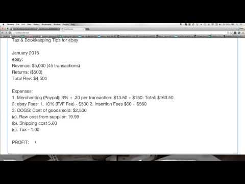 Basic Bookkeeping and Taxes for an ebay Business