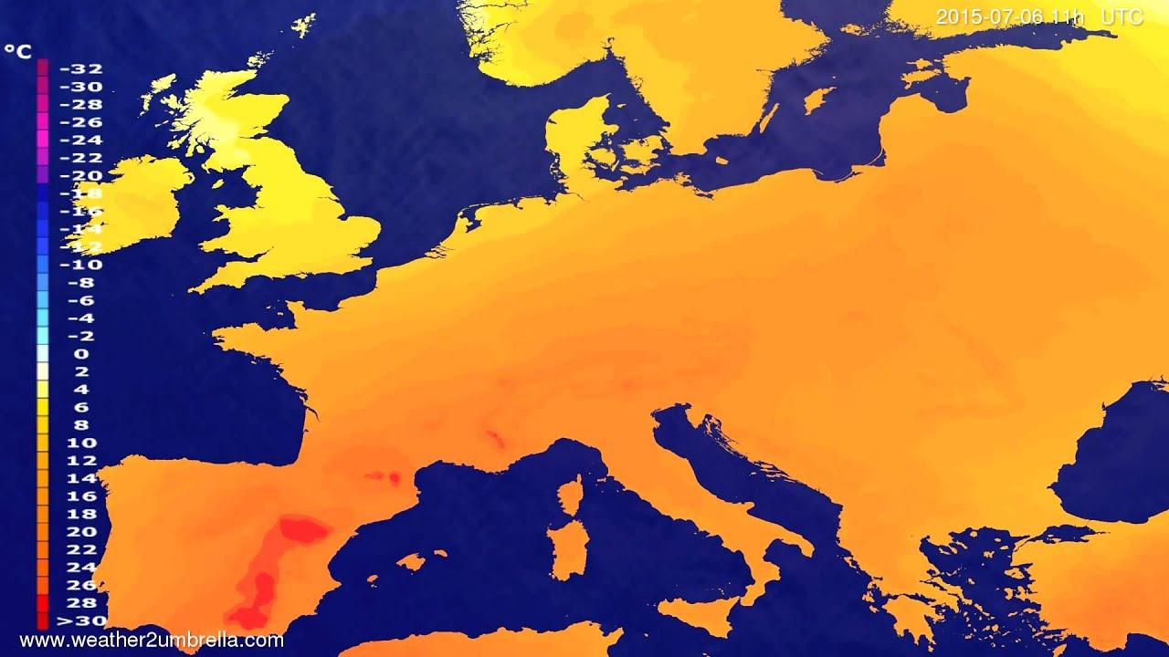 Temperature forecast Europe 2015-07-02