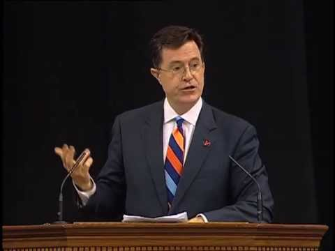 stephen - Stephen Colbert delivers the 2013 Valedictory Address at the University of Virginia. He first steals the show by pretending to steal the class check, a gift ...
