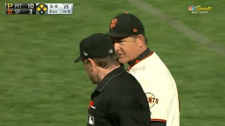 Giants pitching coach Dave Righetti has some words with the home plate umpire and gets ejected from the ballgame in the 9thCheck out http://MLB.com/video for more!About MLB.com: Former Commissioner Allan H. (Bud) Selig announced on January 19, 2000, that the 30 Major League Club owners voted unanimously to centralize all of Baseball's Internet operations into an independent technology company. Major League Baseball Advanced Media (MLBAM) was formed and charged with developing, building and managing the most comprehensive baseball experience available on the Internet. In August 2002, MLB.com streamed the first-ever live full length MLB game over the Internet when the Texas Rangers and New York Yankees faced off at Yankee Stadium. Since that time, millions of baseball fans around the world have subscribed to MLB.TV, the live video streaming product that airs every game in HD to nearly 400 different devices. MLB.com also provides an array of mobile apps for fans to choose from, including At Bat, the highest-grossing iOS sports app of all-time. MLB.com also provides fans with a stable of Club beat reporters and award-winning national columnists, the largest contingent of baseball reporters under one roof, that deliver over 100 original articles every day. MLB.com also offers extensive historical information and footage, online ticket sales, official baseball merchandise, authenticated memorabilia and collectibles and fantasy games.Major League Baseball consists of 30 teams split between the American and National Leagues. The American League consists of the following teams: Baltimore Orioles; Boston Red Sox; Chicago White Sox; Cleveland Indians; Detroit Tigers; Houston Astros; Kansas City Royals; Los Angeles Angels ; Minnesota Twins; New York Yankees; Oakland Athletics; Seattle Mariners; Tampa Bay Rays; Texas Rangers; and Toronto Blue Jays. The National League, originally founded in 1876, consists of the following teams: Arizona Diamondbacks; Atlanta Braves; Chicago Cubs