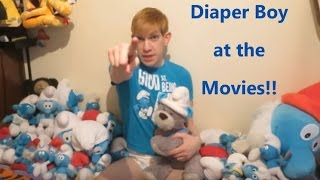 """Daddy Denis got me thickly padded so we could go see """"The Smurfs and the Lost Village""""!! Barkley came along too in his Smurf Hat!! Which Smurf is your favourite?"""