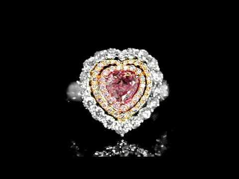 GIA Certified 1.00ct Heart Shape Fancy Purplish Pink Diamond Ring
