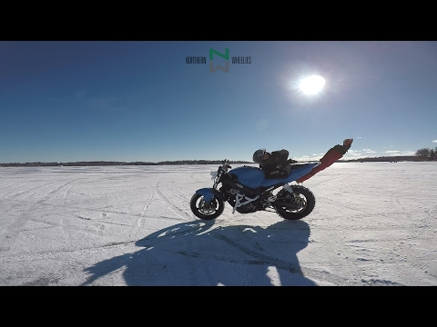 Guy Chases Runaway Stunt Bike On Frozen Lake