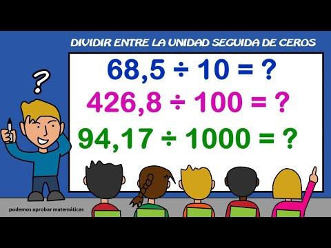 Aprender a dividir entre la unidad seguida de ceros: 10, 100, 1000, 10000, 100000, 1000000