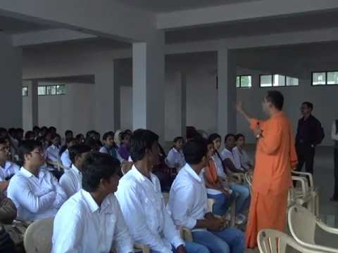 Swami Bodhamayanandaji speaking in Aurora's Scientific Technological & Research Academy