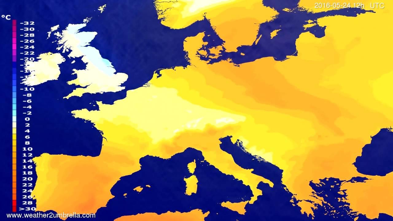 Temperature forecast Europe 2016-05-22