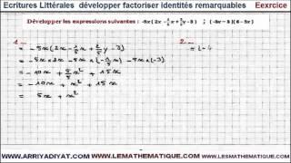 Maths 3ème - Écritures Littérales développer factoriser identités remarquables Exercice 5