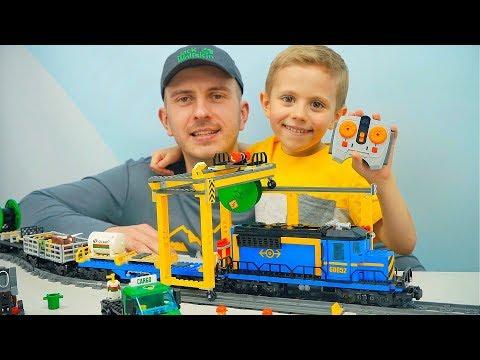 ЖЕЛЕЗНАЯ ДОРОГА Лего Сити 60052 Грузовой Поезд на радиоуправлении LEGO CITY CARGO TRAIN (видео)
