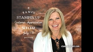 """More info on the Specials: http://stampwithtami.com/blog/2017/06/tamis-stampin-up-vacation-specials-end-july-15/Shop online: http://www.stampinup.com/ECWeb/default.aspx?dbwsdemoid=73215I'm headed to Phuket Thailand with Stampin Up in a few days. As a HUGE thank you to my customers for making this """"trip of a lifetime"""" possible. Combine all of these gifts. Scroll for details on each special offer.Have you ever bought a stamp set just because you loved it, but then found yourself struggling for ideas and different ways to use it? Check out these Inspiration collection Tutorials! Available free with a min. purchase of $50 in my online store.    Orders $1-49.99 receive the Birthday Delivery Tutorial Set via email.    Orders $25 and up will receive 1 Frequent Buyer Point for every $25 in orders.    Orders $50 and up will receive Birthday Delivery & Coffee Cafe Tutorials plus a $5 coupon from Stampin Up to spend in August.    Orders $75 and up receive all of this plus the Color Theory Suite 15+ Mega Card Tutorial bundle via email.    Orders $100 and up receive it all plus a FREE  Glitter Enamel Dots pack PLUS another $5 coupon. Note: Enamel Dots will ship July 28.    Orders over $100 should consider purchasing the Demo Kit Special with $72 bonus essential pack for the absolute BEST DEAL! Click here for details.** Orders over $150 get it all plus free Stampin Rewards. Do not use the hostess code when your order reaches $150.Be sure to join my social media Tami WhiteStampin' Up! Independent Demonstrator✪ STAY CONNECTED ✪Blog: http://www.stampwithtami.com Facebook: http://www.facebook.com/stampwithtami1 Pinterest: http://www.pinterest.com/stampwithtamiPeriscope: https://periscope.tv/stampwithtamiTwitter: http://twitter.com/stampwithtami Weekly Newsletter: http://ow.ly/Vp8eb Bloglovin: https://www.bloglovin.com/blogs/stamp-with-tami-3137650"""