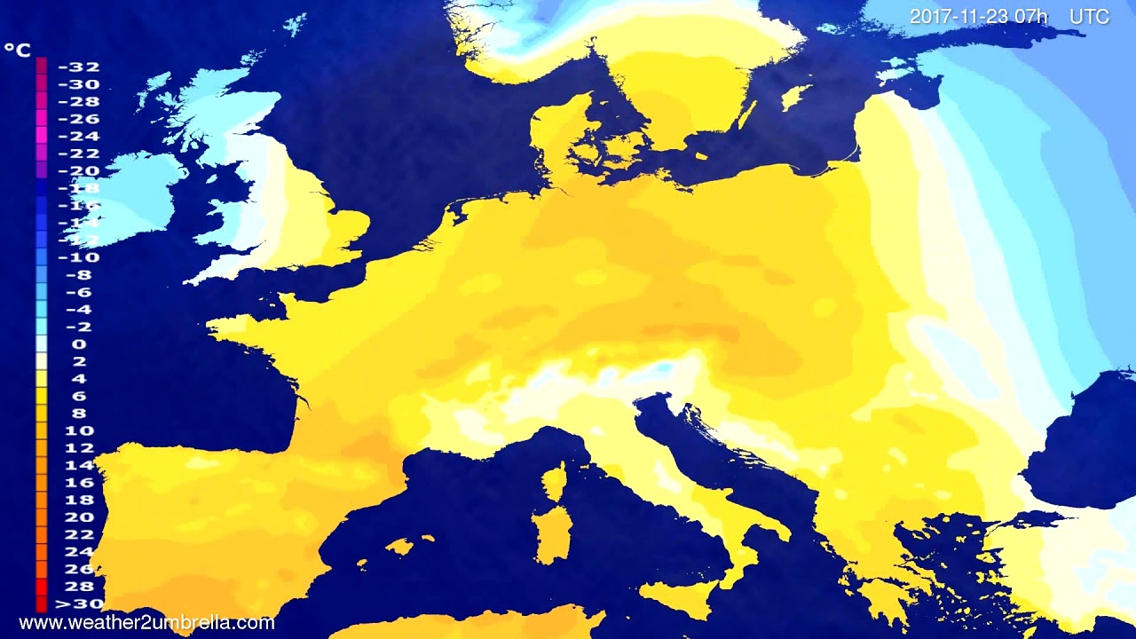 Temperature forecast Europe 2017-11-19