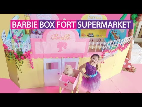 Barbie Supermarket Box Fort Pretend Play