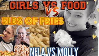5 LB FRENCH FRY CHALLENGE ~ GIRLS VS FOOD ~ STARCHY CHEAT MEAL ~ FT NELA ZISSER ~ MATT STONIE FRIES