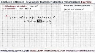 Maths 3ème - Écritures Littérales développer factoriser identités remarquables Exercice 2