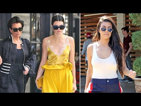 Kendall Jenner And Kourtney Kardashian Go Braless At Lunch With Kris Jenner