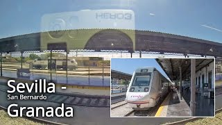 Spain Loja to Granada train side view voyage video. Gps