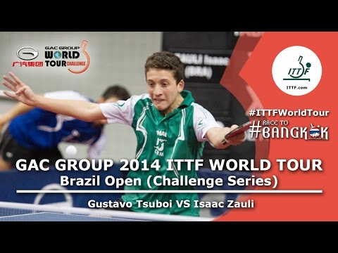 open - Review all the highlights from the Gustavo Tsuboi vs Isaac Zauli Men's Single First Round from the ITTF Brazil Open 2014. Subscribe here for more official Table Tennis highlights: http://bit.ly/it...