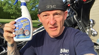 """Bike Brite motorcycle wet wash cleaner/soap is absolutely the best motorcycle """"wet wash"""" cleaner around. And it isn't overly priced like so many of those motorcycle gimmick cleaners that are heavily pushed on bikers every day online. I use Bike Brite on my personal motorcycles and my police motorcycle that I ride. There's no better wet wash motorcycle cleaner than Bike Brite, which is why we brought it to our very own store!I also use Bugslide """"waterless"""" cleaner exclusively on my personal motorcycles and police motorcycle. I use Bugslide on paint, chrome, plastic, leather, helmet, and inside and outside of my plastic helmet shield. There's no better waterless motorcycle cleaner out there, which is why we brought it to our very own store. GET BIKE BRITE MOTORCYCLE WET WASH CLEANER IN OUR STORE HERE: https://shop.lawabidingbiker.com/collections/bikebrite-motorcycle-cleanerGET BUGSLIDE WATERLESS MOTORCYCLE CLEANER IN OUR STORE HERE: https://shop.lawabidingbiker.com/collections/bugslideCHECK OUT CIRO 3D MOTORCYCLE PRODUCTS IN OUR OFFICIAL STORE HERE: https://shop.lawabidingbiker.com/collections/lighting-1BECOME A PATRON MEMBER OF LAW ABIDING BIKER MEDIA AND GET BENEFITS HERE: https://www.patreon.com/scrappySUPPORT US AND LEAVE A FLAT DONATION: http://www.lawabidingbiker.com/donateI do like a good motorcycle wet wash at times when the motorcycle is really trashed. Recently, I rode out of town for some police motorcycle escort training, stayed a couple days to train, and then rode back.  We had to ride through some rain several times. Bugs, road grime, and rain were all over my motorcycle and it was definitely time for a wet wash. After the wet wash using Bike Brite and in between I'll maintain my Harley with Bugslide """"waterless"""" motorcycle cleaner. I do like to wax my motorcycles during the year too and that's where Bike Brite Moto Glaze comes in. It's great on paint and chrome as a wax type solution and really shines the bike up and protects it! Don't forget about Bike"""