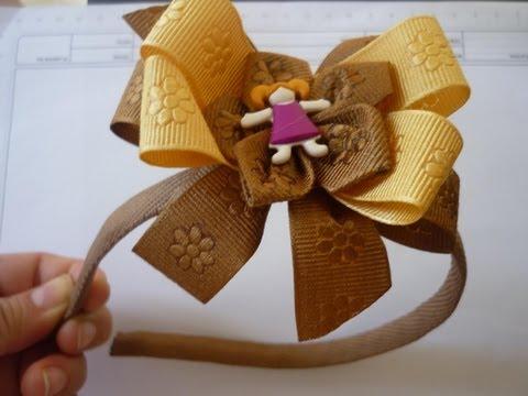 Como hacer moños para el cabello  en cinta perfectos con moldes No.66 Manualidades la Hormiga