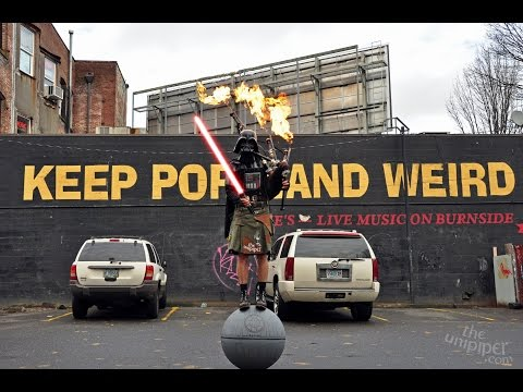 The Unipiper Dresses as Darth Vader and Balances on Death Star While Playing His Flaming