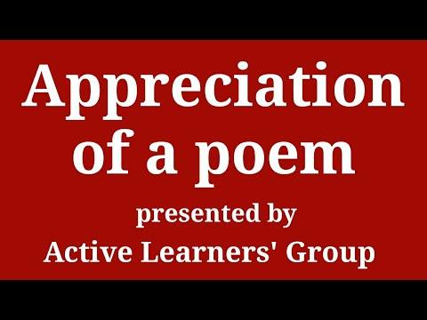 Appreciation of a poem