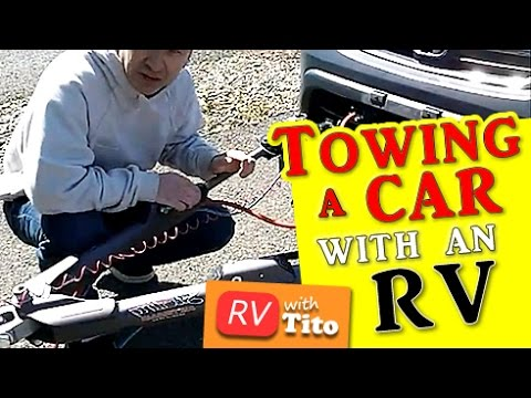 tow - From http://www.rvwithtito.com) In this video I will show you how to how to hookup a tow vehicle to your motorhome. I apologize for the wind noise on parts ...