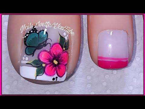 Uñas decoradas - Diseño de pies flor rosado fucsia/decoración de pie flor y mariposa