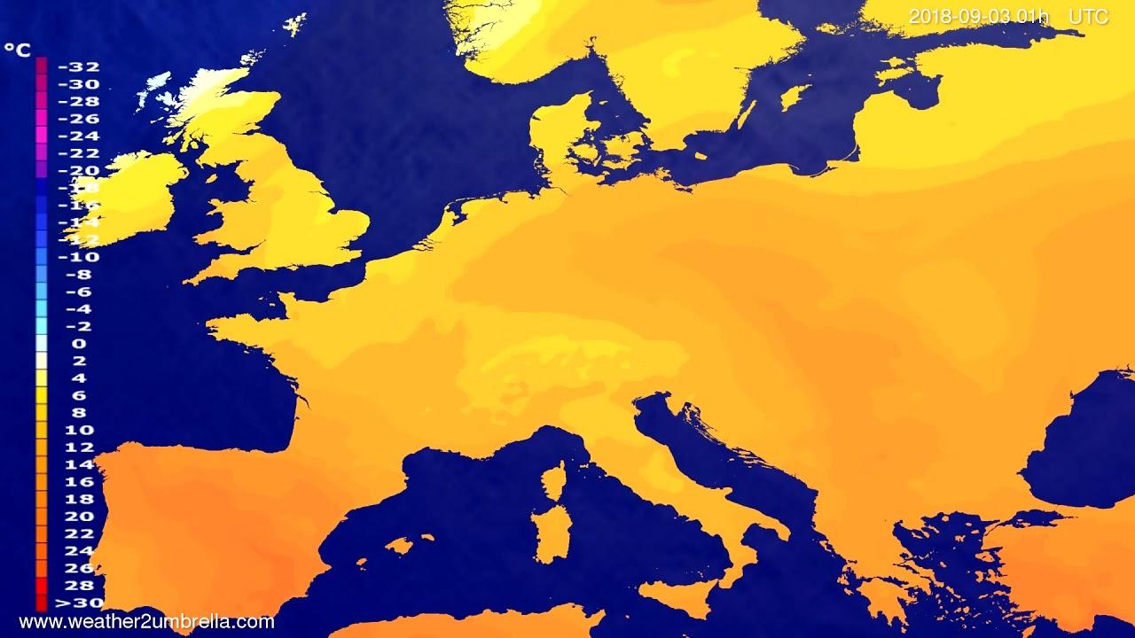 Temperature forecast Europe 2018-08-30