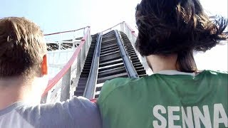"""2nd seat pov of the famous Coney Island Cyclone ! I wasn't able to get front seat because they don't let you choose... :(CycloneLuna Park (Brooklyn, New York, USA)Operating since 6/26/1927Roller CoasterWoodSit DownMake: Harry C. BakerTrack layout: CycloneStatisticsLength:2,850.3 ftHeight:85 ftInversions:0Speed:60 mphDuration:1:50Max Vertical Angle:58.6°DetailsFormer status:SBNO from 1970 to 7/2/1975Operated from 6/26/1927 to 1969Categories:Hybrid (Steel Structure)Cost:$175,000 USDDesigner:Vernon KeenanTrains:3 trains with 3 cars per train. Riders are arranged 2 across in 4 rows for a total of 24 riders per train.Restraints: Single position lap barHistory:Named a National Historical Landmark on 6/26/91 -- its 64th birthday.In the spring of 1972 the Cyclone was in danger of being demolished to make way for a proposed expansion of aquarium just east of the Cyclone. Thanks to the efforts of the """"Save the Cyclone"""" campaign, Astroland park, just to the west, leased the land and reopened the Cyclone."""