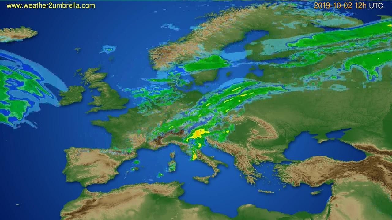 Radar forecast Europe // modelrun: 00h UTC 2019-10-02